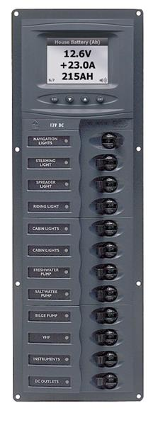 BEP 12v Dc Circuit Breaker Panel 12 Way Vert Digi Meter (902V-DCSM)