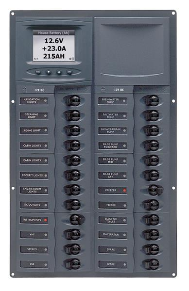 BEP 12v Dc Circuit Breaker Panel 24 Way Vert Digi Meter (905V-DCSM)