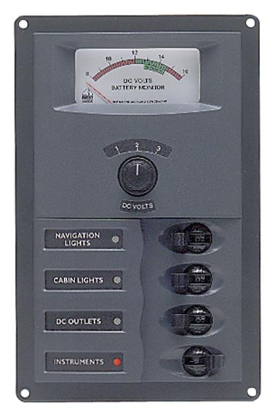 BEP 12v Dc Circuit Breaker Panel 4 Way Vert A/log Meter (900-AM)