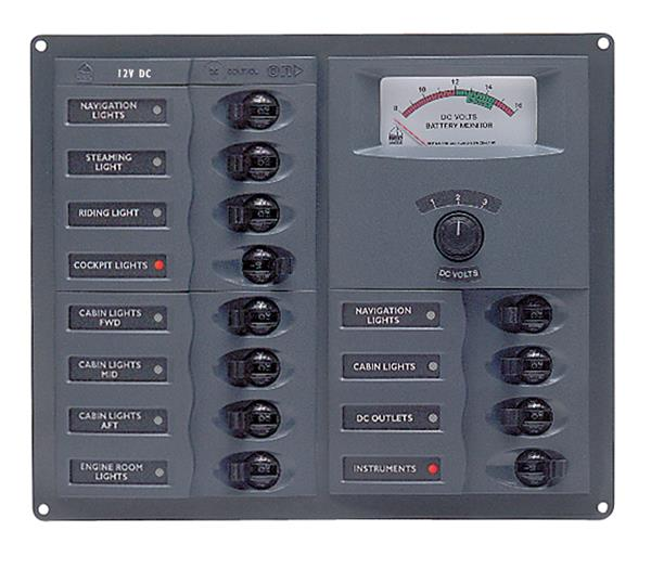 BEP 12v Dc Circuit Breaker Panel 12 Way Square A/log Meter (902-AM)