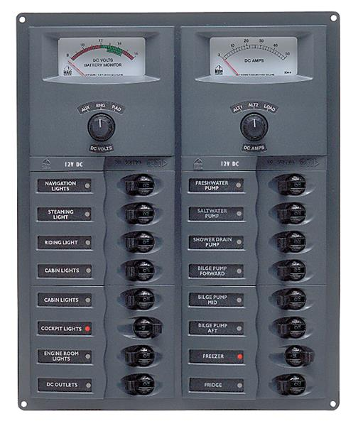 BEP 12v Dc Circuit Breaker Panel 16 Way Vert A/log Meter (904-AM)