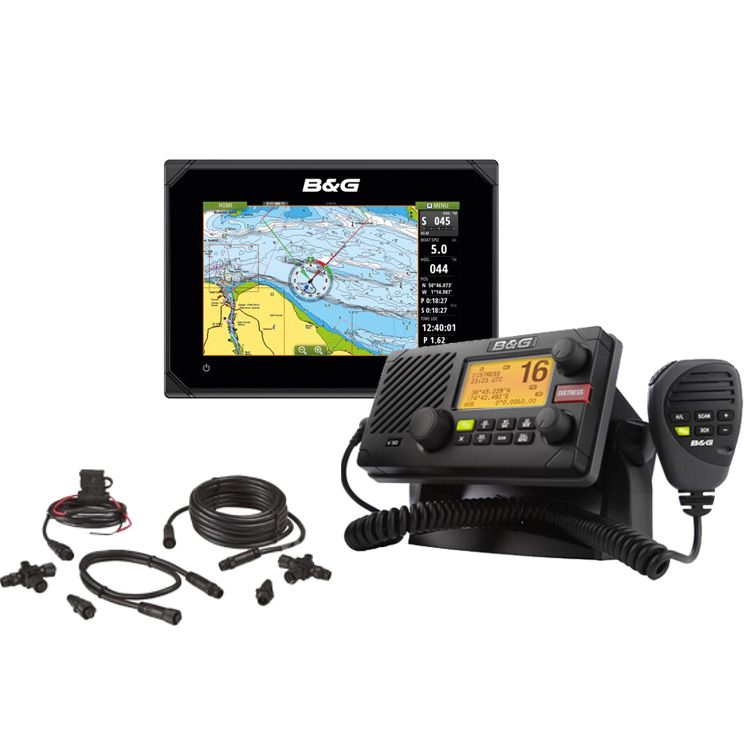 B&G Vulcan7 7-inch Multi-Touch Chartplotter With V50 VHF and NMEA 2000 Starter Kit