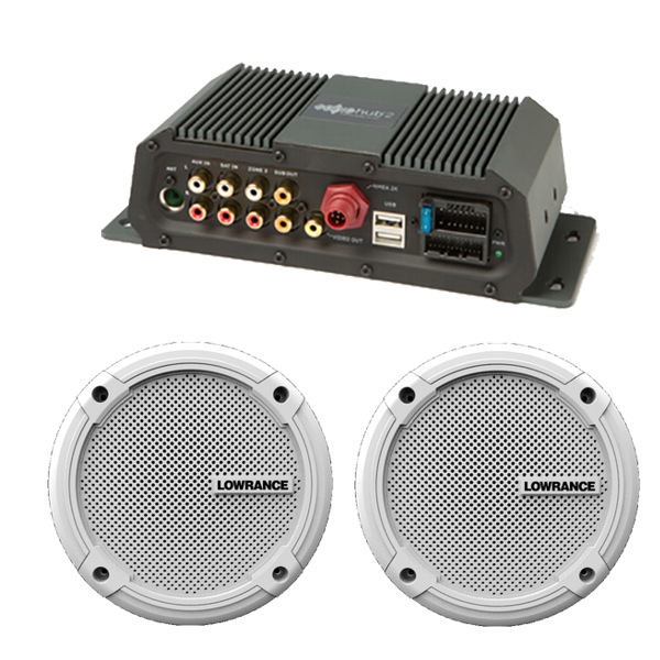 Lowrance SonicHub 2 NMEA 2000 Audio Server Module With 1 Pair of Lowrance Branded 6.5Inch Speakers