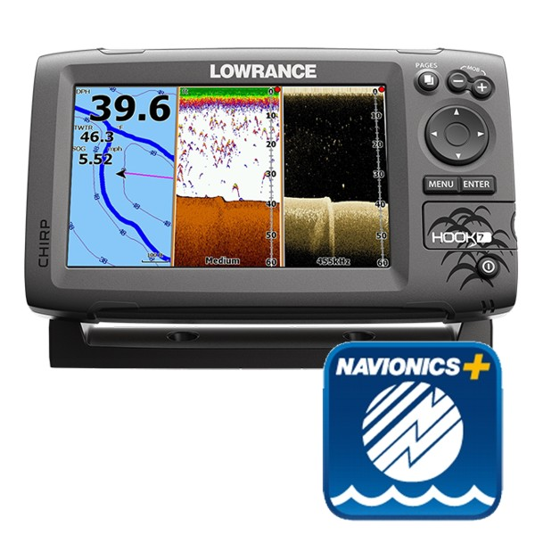 Lowrance Hook-7 Fishfinder / Chart Plotter With Navionics Plus Small Area Chart - NO Transducer