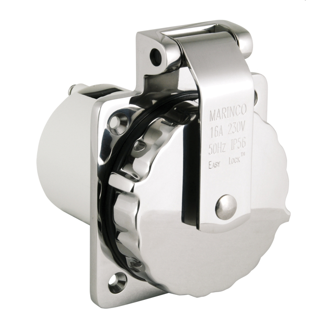 Marinco 16A Inlet Stainless Steel EZ Lock