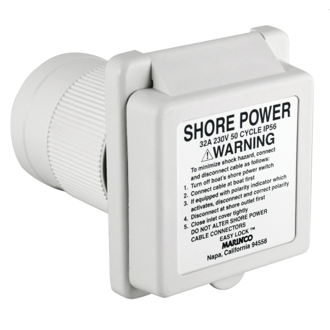 Marinco 32A Inlet Watertight Standard EZ Lock
