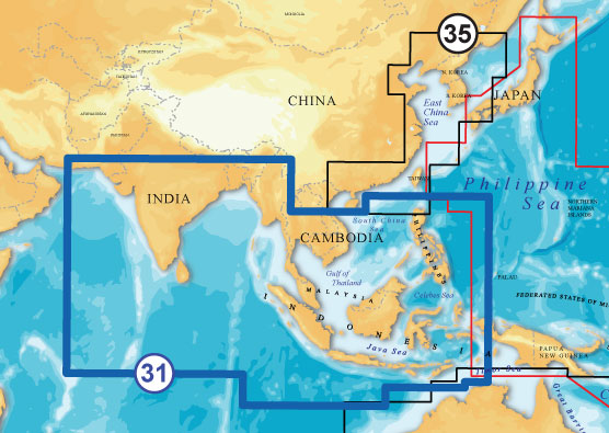 Navionics Gold XL9 CF Format 31X Indian Ocean / South China Sea