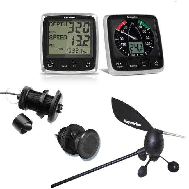 Raymarine i50 Tridata Plus i60 Wind Pack c/w Thru Hull & Masthead Transducers
