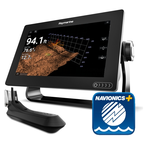 Raymarine Axiom 9 RV - 9 Inch Multi Function Display With RealVision 600W Sounder With RV-100 3D TR + Sm Nav+ Chart