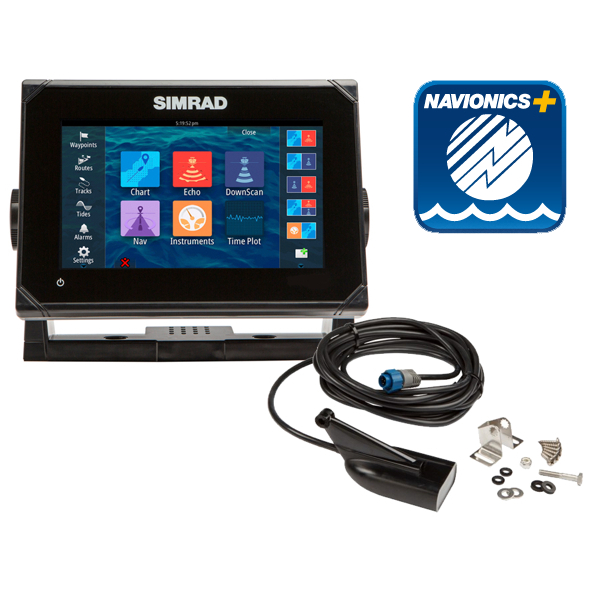 Simrad GO7 7Inch Multi-touch Plotter with Built-in Sounder with 83/200 455/800 KHz HDI TR and Navionics Plus Card