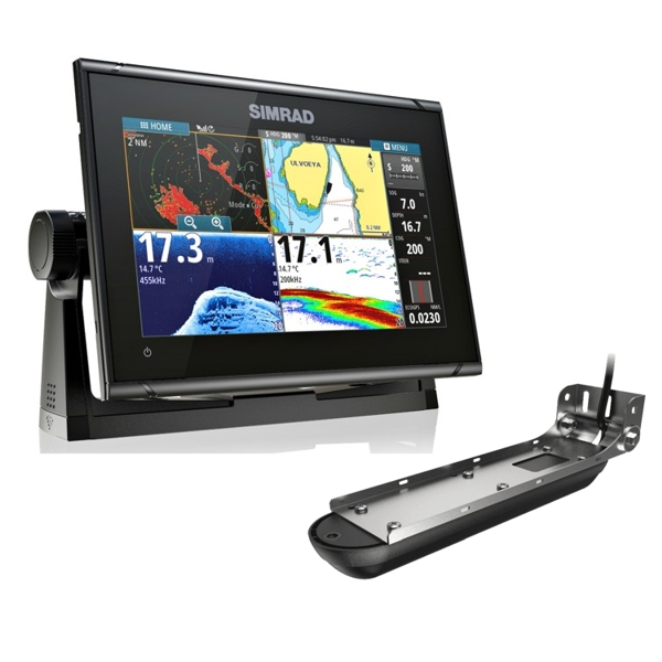 Simrad GO9 XSE Display with built in Echosounder With Transom Active Imaging 3 in 1 Transducer