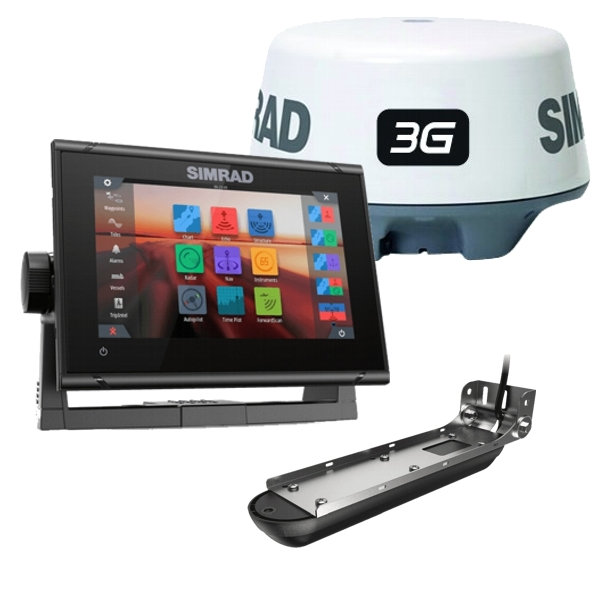 Simrad GO7 XSR Display With 3G Radar -Transom Active Imaging 3 in 1Transducer and Navionics + Cartography