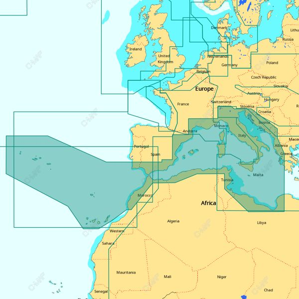C-MAP 4D Wide Area - South-West European Coasts
